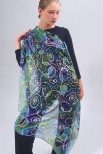 "Batik on silk chiffon scarf. Dimensions 44"" x 45"""
