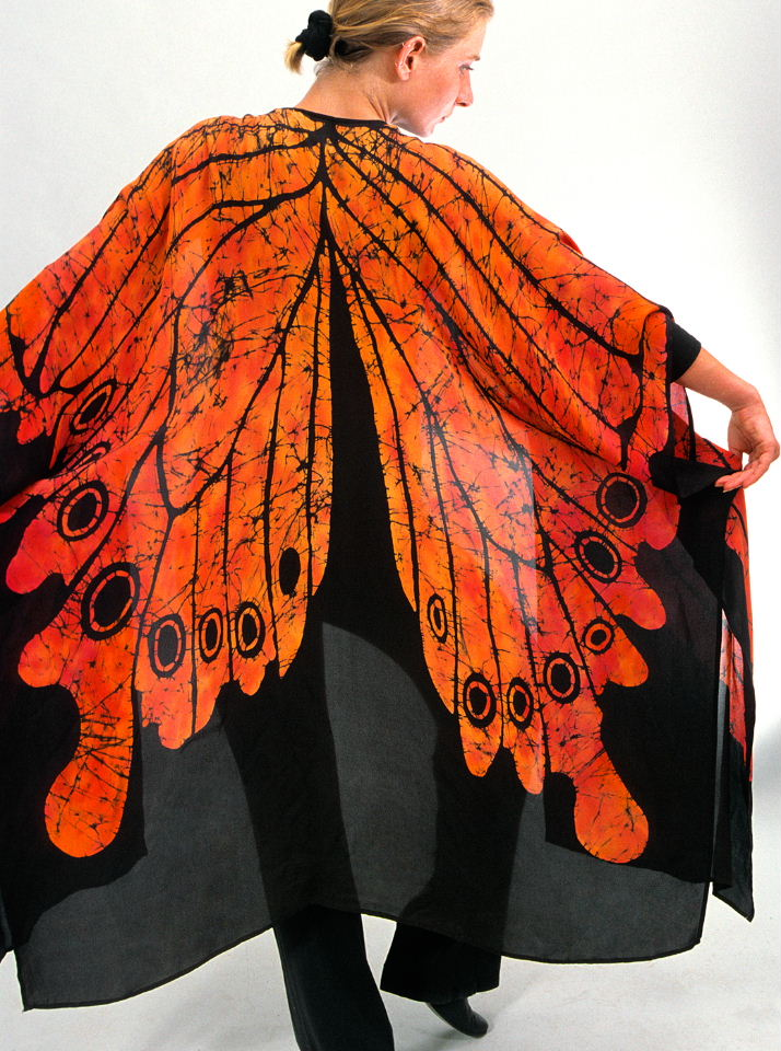 """Monarch Butterfly"" shawl: Batik on silk georgette."